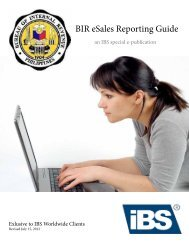 IBS Worldwide I Guidelines for BIR online eSales reporting