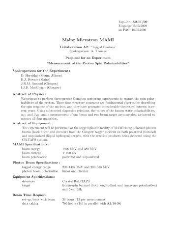 Measurement of the Proton Spin Polarizabilities - Infn