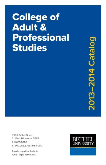 2013-2014 Catalog - College of Adult & Professional Studies