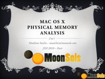 Mac OS X - OSSIR