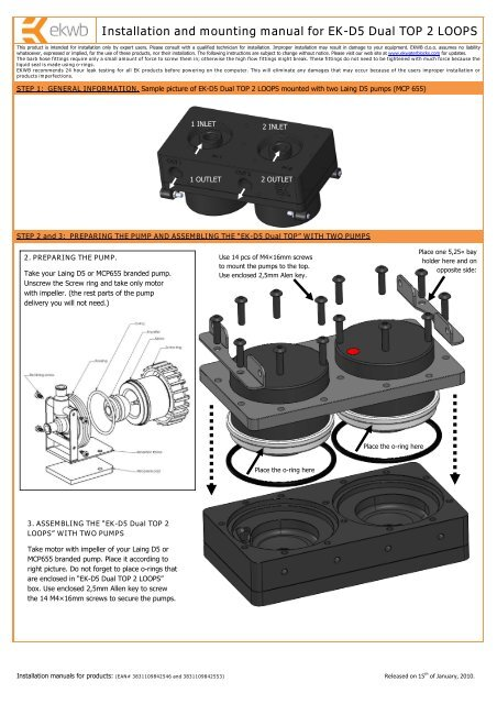 Installation and mounting manual for EK-D5 Dual TOP 2     - EKWB