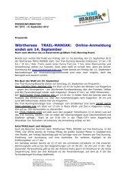 Wörthersee TRAIL-MANIAK: Online-Anmeldung endet am 14 ...
