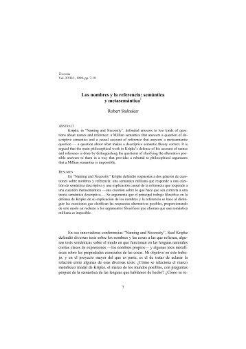 Los nombres y la referencia: semántica y metasemántica1 - Dialnet