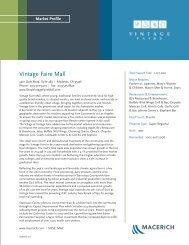 Vintage Faire Mall Market Profile 2013 - Macerich