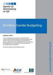Gender Budgeting Im Fokus: - Agentur für Gleichstellung im ESF