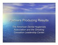 Partners Producing Results - Smoking Cessation Leadership Center