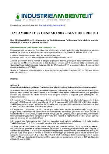 dm ambiente 29 gennaio 2007 – gestione rifiuti - IndustrieAmbiente.it