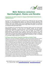 Nachhaltigkeit, Risiko und Rendite in Balance - good growth institut