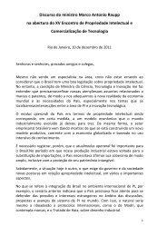 Discurso do ministro Marco Antonio Raupp - Inpi
