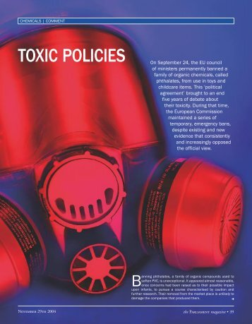 TOXIC POLICIES On September 24, the EU council of ... - Bill Durodie