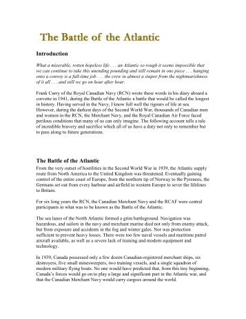 Introduction The Battle of the Atlantic - Royal Canadian Legion