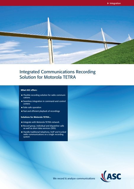 Integrated Communications Recording Solution for ... - ASC telecom