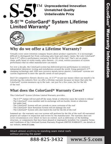S-5!™ ColorGard® System Lifetime Limited Warranty* - AMSI Supply