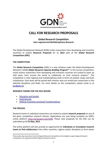 call for research proposals - Transparency and Accountability Program