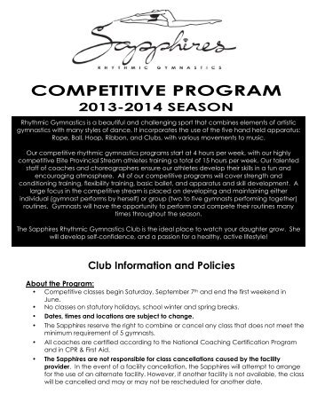 2013-14 Competitive Program Information - Sapphires Rhythmic ...