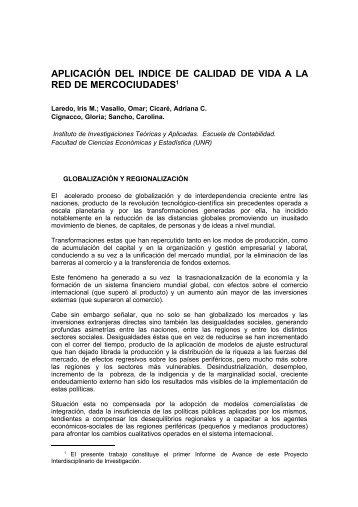 aplicación del indice de calidad de vida a la red de mercociuda