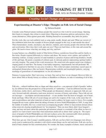 essay - Philadelphia Folklore Project