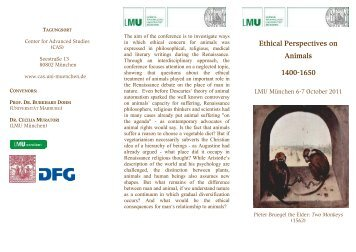 """Flyer – """"Ethical Perspectives on Animals 1400-1650"""""""