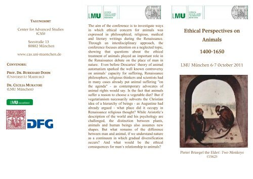 "Flyer – ""Ethical Perspectives on Animals 1400-1650"""