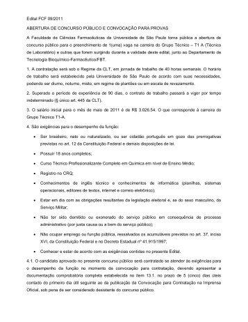Edital FCF 09/2011 ABERTURA DE CONCURSO PÚBLICO E ...