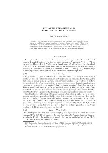 INVARIANT FOLIATIONS AND STABILITY IN CRITICAL CASES 1 ...