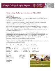 King's College Rugby reports for Saturday 9 June 2012
