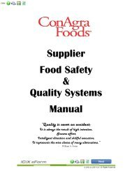 Supplier Food Safety & Quality Systems Manual - ConAgra Foods