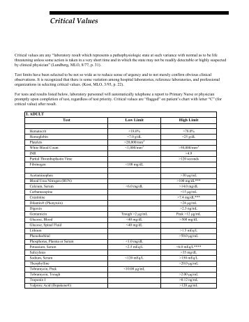 Critical Values.fm - Mayo Medical Laboratories