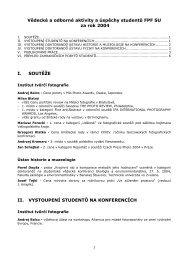 Vědecké a odborné úspěchy studentů 2004 - Slezská univerzita v ...