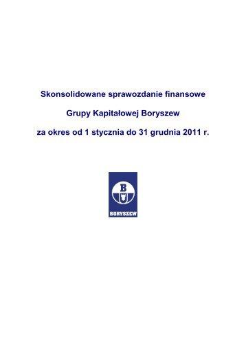 Skonsolidowane sprawozdanie finansowe Grupy Kapitałowej ...