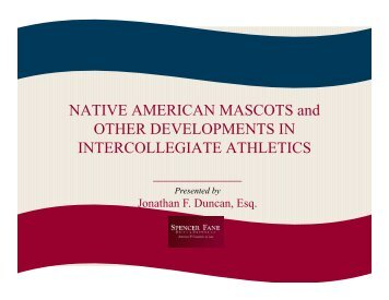 NATIVE AMERICAN MASCOTS and OTHER DEVELOPMENTS IN ...