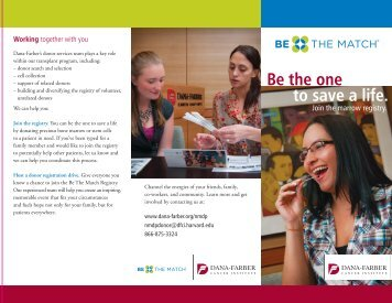 Be the one to save a life. - Dana-Farber Cancer Institute