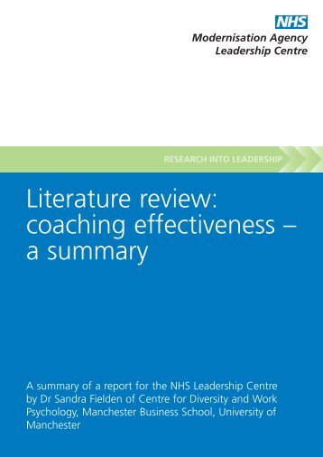 Literature review: coaching effectiveness – a summary