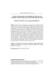 Le fonctionnement du marché du travail en Algérie - Region et ...