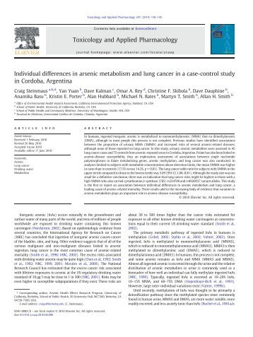 Individual differences in arsenic metabolism and lung cancer in a ...
