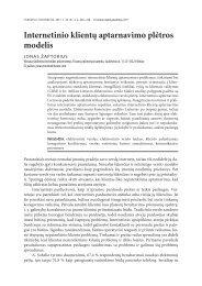 Internetinio klientų aptarnavimo plėtros modelis