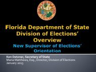 Overview New SOE Orientation - Florida Department Of State