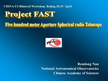 Project FAST- Five hundred meter Aperture Spherical radio Telescope