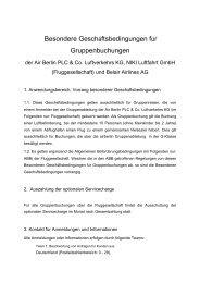 Besondere Geschäftsbedingungen für Gruppenbuchungen - Airberlin