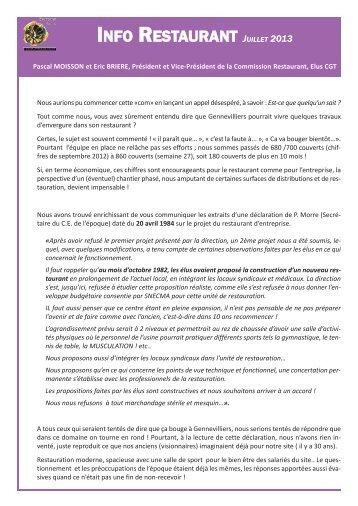 Info juillet 2013 - CE Snecma Gennevilliers