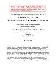 season activity report, 2010 - Tall el-Hammam Excavation Project ...