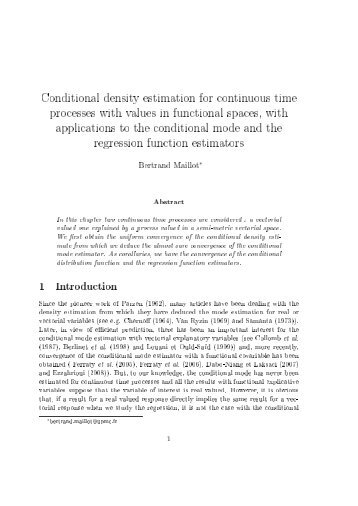 Conditional density estimation for continuous time processes ... - Lsta