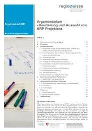 Argumentarium Â«Beurteilung und Auswahl von NRP ... - Regiosuisse