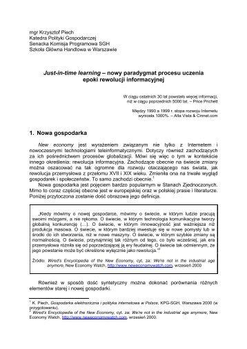 Just-in-time learning - Szkoła Główna Handlowa w Warszawie