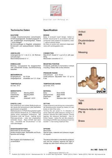 Artikel: MB Druckminderer PN 16 Messing Type ... - END Armaturen