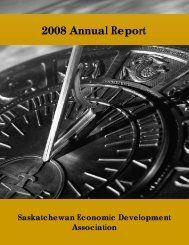 2008 Annual Report - SEDA - Saskatchewan Economic ...
