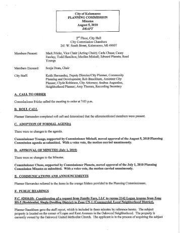 Thursday, August 05, 2010 (Draft) - City of Kalamazoo