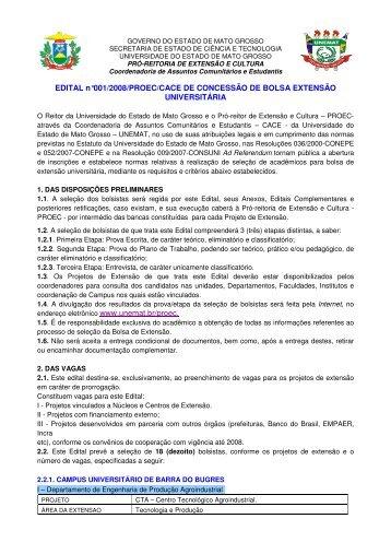 EDITAL n°001/2008/PROEC/CACE DE CONCESSÃO ... - UNEMAT