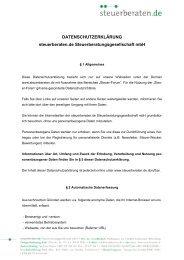 DATENSCHUTZERKLÄRUNG steuerberaten.de ...