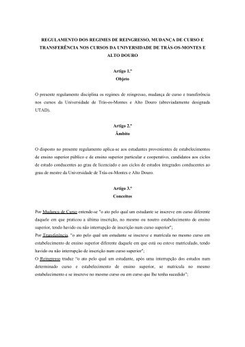 Regulamento dos Regimes de Mudanças, Transferências e ... - Utad